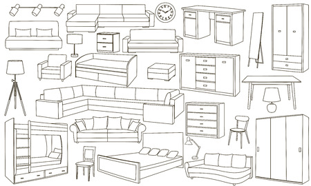 attributes: Vector set with hand drawn doodles of furniture, decorative elements and repair attributes on white background. Isolated furniture, lamps, curtains, sofas. Sketches for use in design