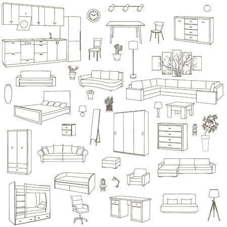 home furniture: interior furniture, vector furniture, home furniture, sofa furniture, armchair furniture, room furniture, design furniture, set furniture, modern furniture, illustration furniture, house furniture, Illustration