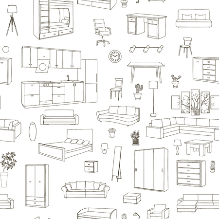home accessories: Furniture hand drawn seamless pattern with modern and classic home accessories vector illustration