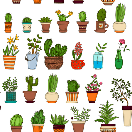 peyote: Succulent and cactus seamless pattern. Colorful doodle flowers in pots. Vector background Illustration