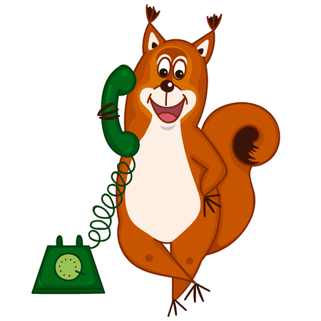 downy: Cute cartoon squirrel on the phone. Illustration