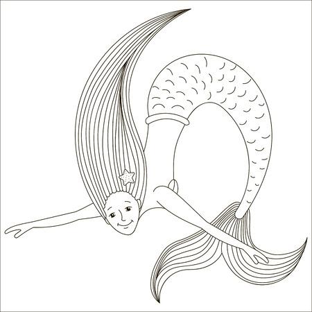 Vector illustration of a mermaid.