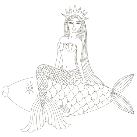 naiad: Mermaid in a crown sitting on the fish. Vector illustration.