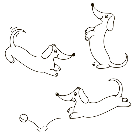 urinate: Dogs collection - only contour - vector Illustration