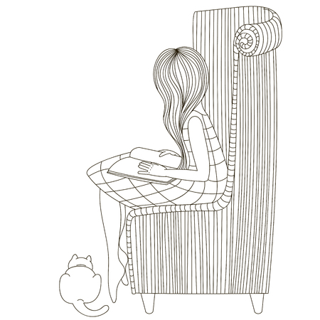 telework: Girl in a chair