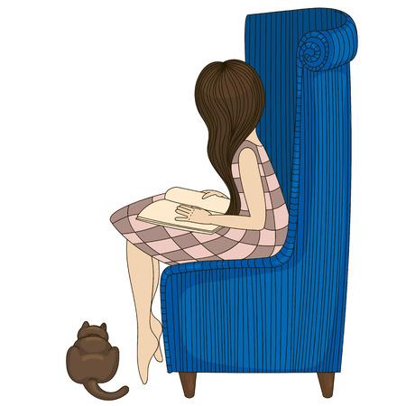 little girl sitting: Little girl sitting on chair illustration