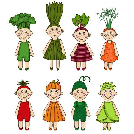 healthful: Cartoon men vegetables. Broccoli, onions, beets, carrots, tomato, pumpkin, cucumber, cabbage.
