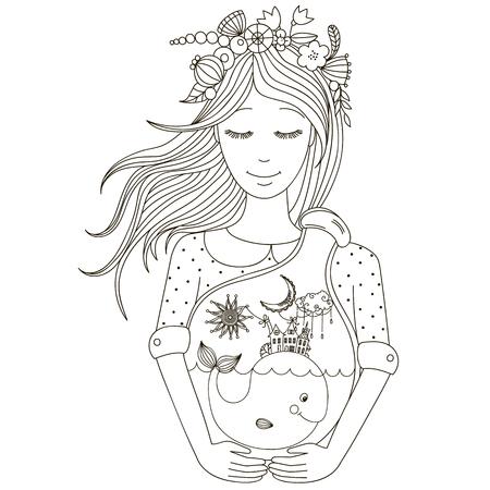 quarantine: Beautiful girl holding a jar Illustration