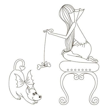 playtime: Girl playing with a dog Illustration