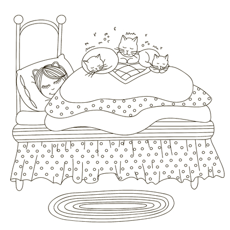 Beautiful young girl, cats . Hand drawn vector on a white background. Coloring book. Иллюстрация