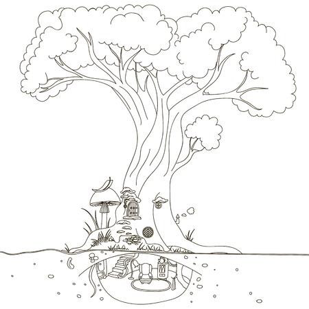 La casa del árbol mágico. Dibujo a mano aislado objetos sobre fondo blanco.