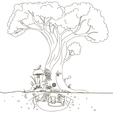 Magic Tree house. Hand drawing isolated objects on white background.