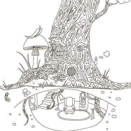hide and seek: Magic Tree house. Hand drawing isolated objects on white background. Illustration