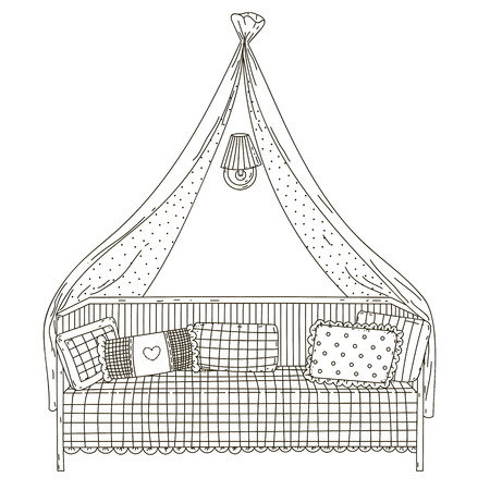 Canopy bed, pillows and sconces.