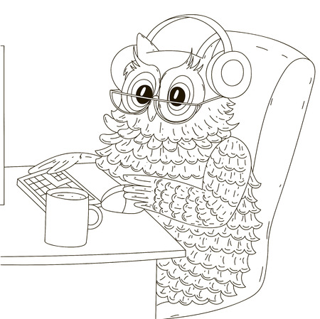 tired eyes: Tired owl sitting behind the monitor headphones. Vector illustration, isolated black contour on a white background.