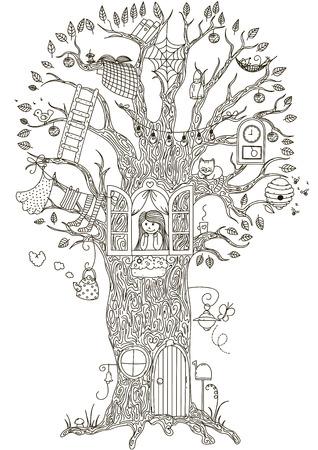 Árbol mágico. La casa del árbol en el que vive una niña.