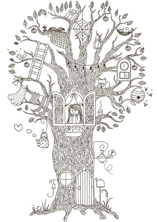 Magic Tree. Tree house in which he lives a girl.