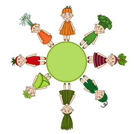 Cartoon men vegetables. Broccoli, onions, beets, carrots, tomato, pumpkin, cucumber, cabbage.