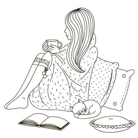 女の子毛布に包まれて座っているとカップを置きます。