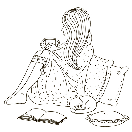 Girl sitting wrapped in a blanket and holding a cup.
