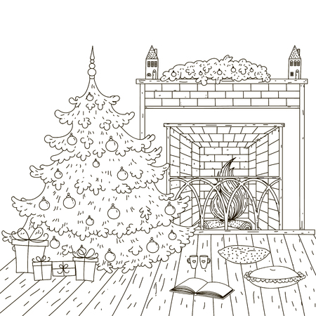 fireplace christmas: Christmas room, a fireplace, Christmas tree. Illustration