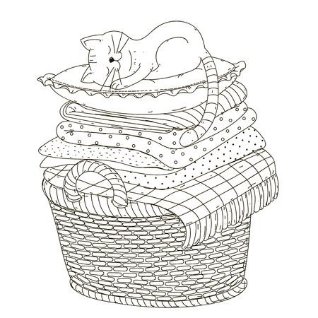 The cat sleeps on a pillow, linen, basket.