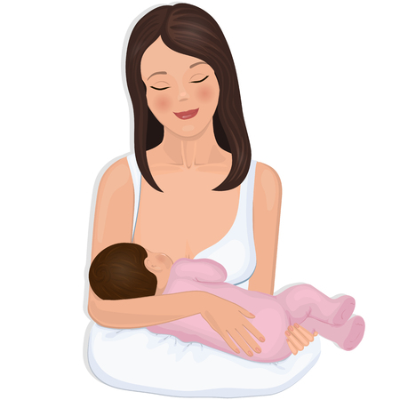 breastfeeding: Young mother with a nursing infant. Illustration