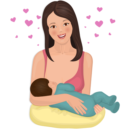 Young mother with a nursing infant. Illustration
