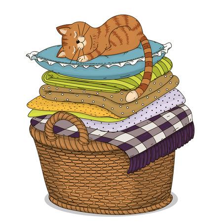sleeps: The cat sleeps on a pillow.