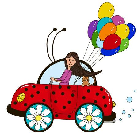 The girl behind the wheel of a car ladybug. Lucky balloons.