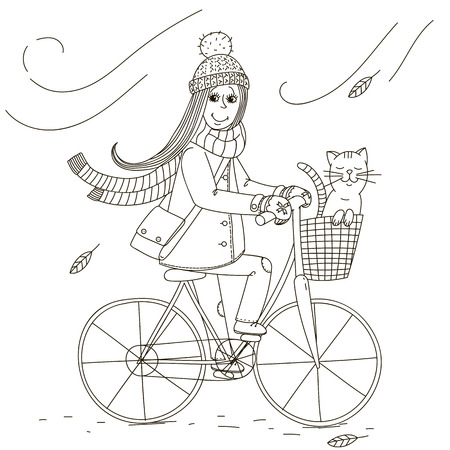 biking glove: Girl rides a bicycle with a cat in the basket. Illustration