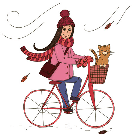 Girl rides a bicycle with a cat in the basket. Illustration
