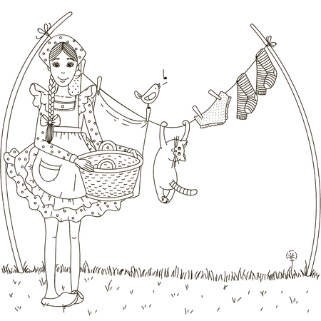hanging woman: The girl hung laundry on the street. Cat hanging on a clothesline with laundry. Illustration