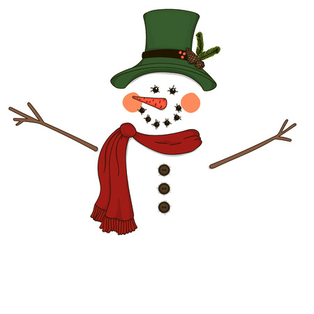 Snowman. Isolated outline on a white background. Illustration