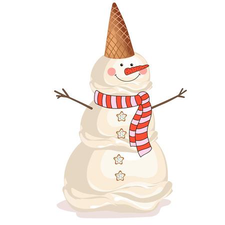 winter snow: Snowman ice cream. Illustration