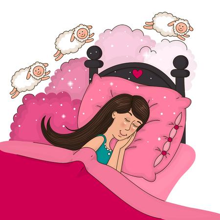 Belle fille dans le lit de comptage des moutons.