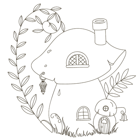mushroom house: Fairy cartoon mushroom house. Coloring. Black contour on a white background, painted by hand.