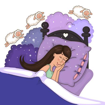 羊を数えるベッドで美しい少女  イラスト・ベクター素材