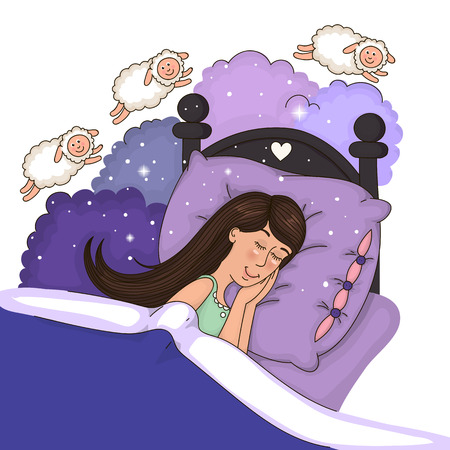 Beautiful girl in bed counting sheep Ilustração