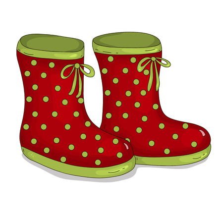 rubber boots: Rubber boots in pea Illustration