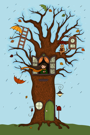 The girl lives in a magic tree Illustration