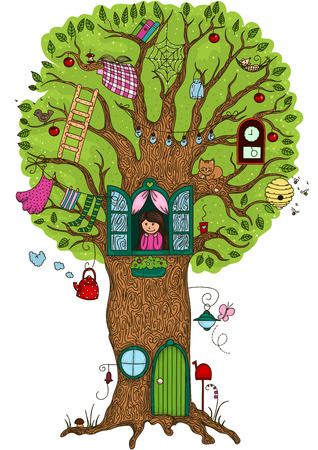hide and seek: Magic tree in which she lives Illustration