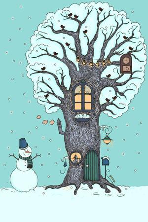 winter tree: Fairy winter house in the tree