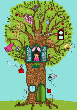 Magic tree in which she lives Illustration