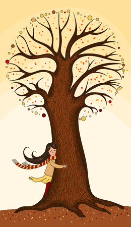 Girl hugging a tree. Drawn by hand