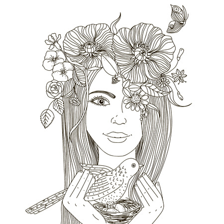 Fille avec couronne de fleurs sur la tête, tenant un nid avec des oiseaux et des ?ufs.