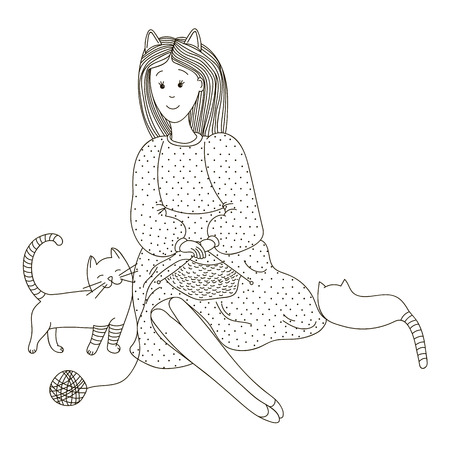 causal: She knits in the company of a cat