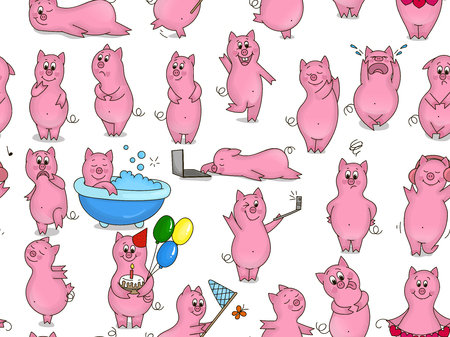 piglets: Pattern with cartoon piglets on white background