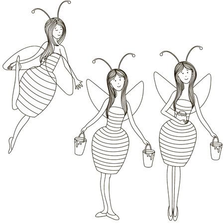 elf queen: Set girls bees illustration.