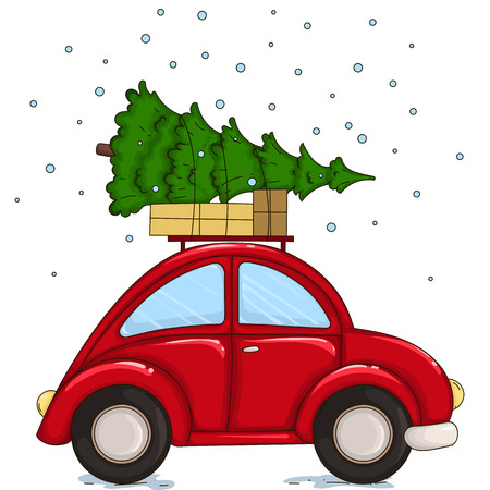 Red car driven by a Christmas tree and presents.